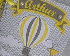 Caderno do bebê balão cinza e amarelo