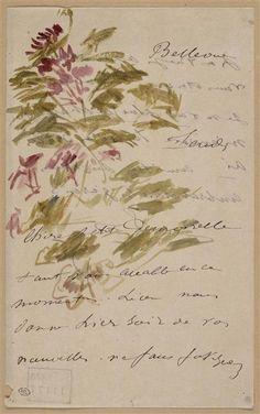 """Édouard Manet (1832-1883) - """"Fleurs et feuillage décorant une lettre à Isabelle Lemonnier"""" - Aquarelle, encre grise, plume (dessin) - http://www.photo.rmn.fr/C.aspx?VP3=SearchResult&VBID=2CO5PC7WYJZVC&SMLS=1&RW=1366&RH=659#/SearchResult&VBID=2CO5PC7WYJZVC&SMLS=1&RW=1366&RH=659&PN=1"""