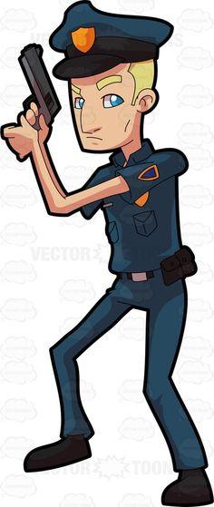 A police officer on alert #cartoon #clipart #vector #vectortoons #stockimage…