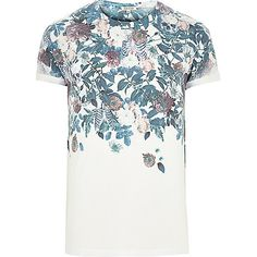 White floral skull faded print t-shirt - print t-shirts - t-shirts / vests - men