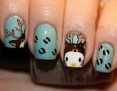 hello-kitty reindeer nails... cute, looks like reindeer prints for Christmas time.
