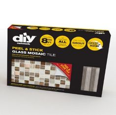 DIY Tile Backsplash Kit Bamboo comes with peel & stick glass mosaic tiles, 2 bags of pre-mixed grout; trim pieces to finish the edges, and tools. Diy Tile Backsplash, Peel N Stick Backsplash, Herringbone Backsplash, Peel And Stick Tile, Stick On Tiles, Travertine Backsplash, Tiling, Diy Tiles, Backsplash Arabesque
