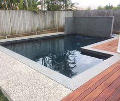 New Aggregate Concrete Patio Pool Decks Ideas Pool Paving, Concrete Pool, Small Outdoor Patios, Small Backyard Patio, Patio Fence, Patio Gazebo, Paver Fire Pit, Exposed Aggregate Concrete, Home Landscaping