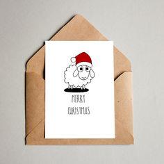 Printable hand drawn art, love and mischievous magic Printable Christmas Cards, Funny Christmas Cards, Merry Christmas Card, Christmas Greetings, Handmade Christmas, Holiday Cards, Christmas Diy, Simple Christmas, Christmas Cards Drawing