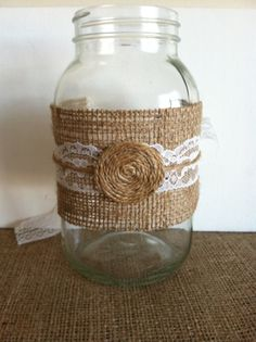 Mason Jar Wraps in Burlap Lace and Twine by redesignaccessories, $6.00