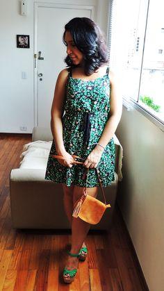 Vestidinho fresquinho da C&A, bolsa da Renner e sandália da Passarela!
