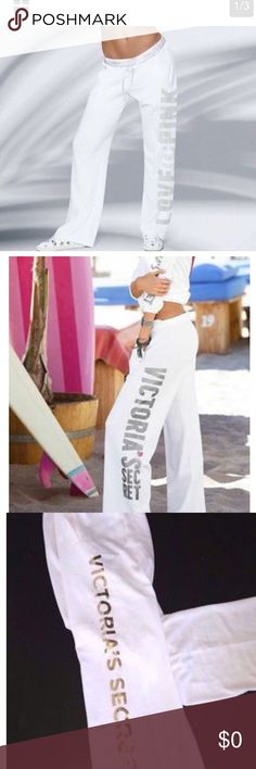 ISO PINK white sweatpants!!! Almost any logo type, boyfriend fit in M preferred, sets great, really wanting snow leopard print!!! TIA PINK Victoria's Secret Pants