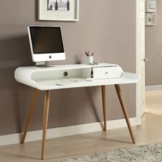 Worcester Wooden Laptop Desk In White Ash With 1 Drawer
