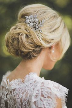 romantic messy mass of loose curls wedding updo with antique hair comb - Deer Pearl Flowers