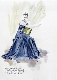 Paquin 1940 Midnight-blue Silk Chiffon, Pierre Mourgue, Fashion Illustration