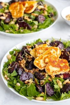 Honey Roast Beetroot and Halloumi Salad with Butter Beans & Walnuts - Healthy GF! Bean Recipes, Salad Recipes, Vegetarian Recipes, Cooking Recipes, Healthy Recipes, Healthy Salads, Healthy Options, Soup Recipes, Healthy Food