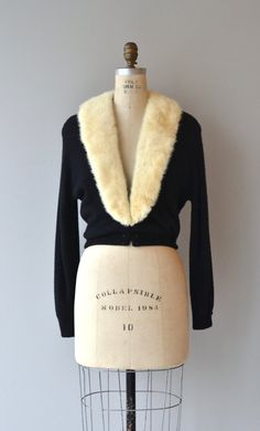 Vintage 1950s black cashmere cardigan with large blonde mink collar, three clasps at the waist and full lining. --- M E A S U R E M E N T S --- fits