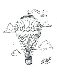 Hot Air Balloon Tattoo by C-Fillhart