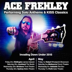 "Rock and Roll Hall of Fame inductee ACE FREHLEY has announced his first Australian shows since 2010 and his First Ever New Zealand Solo Shows!  ""I can't wait to get down to New Zealand and Australia with this new lineup. I'll be performing ACE classics as well as songs off my new CD 'Space Invader' for the enjoyment of the fans. Let There Be Rock!"""