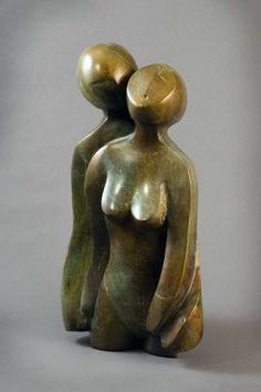 #Bronze #sculpture by #sculptor Mark Yale Harris titled: 'Close (Bronze abstract Lovers Yard Outdoor statue)'. #MarkYaleHarris
