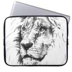 Hand drawn lion face laptop computer sleeves #laptop #sleeves #lion #wild #animal #jungle #safari
