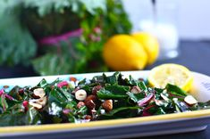 We recommend adding hazelnuts and lemon to your swiss chard for a more flavorful salad.