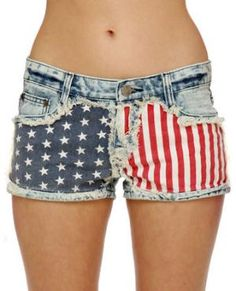 Gypsy Junkies Liberty Cutoffs - Flag Print Shorts - Denim Shorts - $78.00 @Sika Agblevor They are kind of expensive but i know your looking for some :)