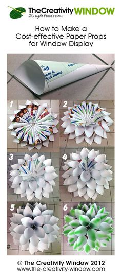 How to Make This Cost-effective Paper Window Display Props.  Watch its short instructional video at http://the-creativity-window.com/2012/04/how-to-make-this-cost-effective-paper-props-for-summer-window-display/