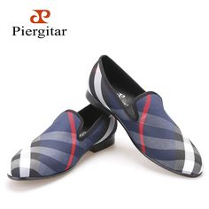 Piergitar Blue and white plaid canvas shoes luxurious brand men loafers black pig leather insole men 's casual shoes men's flats Price: INR 6598.449 | India