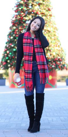 Christmas is for spending time with family and what a better way to do that than in a cute casual christmas outfit! This plaid monogrammed scarf adds the perfect touch of Christmas to any outfit! #casualchristmasoutfit #casualoutfit #christmasoutfit #christmasoutfitidea #monogrammedscarf #OTKboots #nordstrom #Plaidscarf #christmasscarf #overthekneeboots #irresistiblypetite #Fashionblogger #petiteblogger