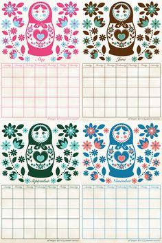 What a delightfully lovely printable calendar. #matryoshka #calender #calendar #download #crafts