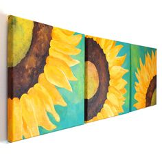 SUNFLOWERS ON TEAL, Set of 3 12x12 Abstract Paintings, Home and Office Wall Art via Etsy