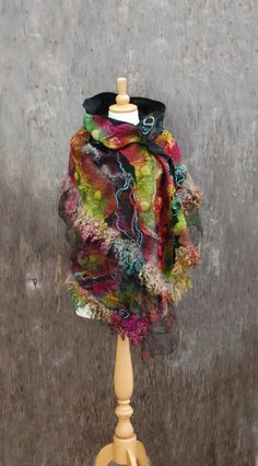 Nuno Felted scarf felt scarf felted shawl wool lock merino wool silk  black pink green red yellow multicolor scarf felted art