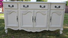 SHABBY CHIC. DRESSER/CABINET 3 DRAWER/4 DOOR CABINET COTTAGE WHITE.FRENCH PROVINCIAL