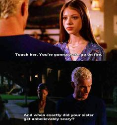 Buffy the vampire slayer season 7 episode Beneath you. Buffy, Spike, Dawn. Dawn is telling Spike that because in season 6 Spike tried to rape Buffy in the bathroom