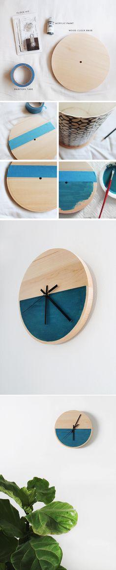 Reloj DIY simple y minimalista - almostmakesperfect.com - Diy Color Block Clock