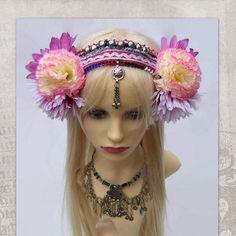 ATS Costume Headdress, Festival Headband, Flowers Headpiece, Tribal Belly Dance, Tribal Fusion, Gypsy, Burlesque, Fairy, HajnaLuna Headdress