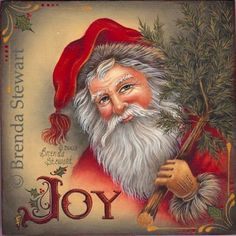 Joy Santa Box by Brenda Stewart. (Acrylic) Pattern packet available. Father Christmas, Christmas Paper, Vintage Christmas Cards, Christmas Pictures, Christmas Mantles, Santa Pictures, Victorian Christmas, Christmas Christmas, Christmas Ornaments