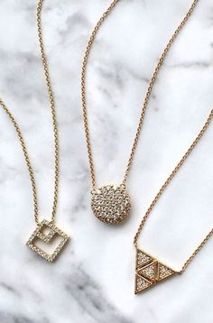 Yellow gold dainty diamond pendants. Which style is your favorite? #danarebecca #yellowgold #diamonds #necklaces