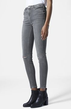 Topshop+Moto+'Jamie'+Ripped+Skinny+Jeans+(Grey)+(Regular+&+Short)+available+at+#Nordstrom
