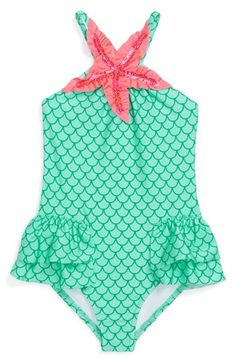 Love U Lots 'Mermaid' One-Piece Swimsuit (Toddler Girls) available at #Nordstrom