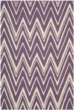 Sandra Ivory & Purple Chevron Wool Hand-Tufted Area Rug