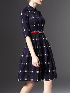 Shop Midi Dresses - Purplish Blue V Neck Long Sleeve Buttoned Polyester Midi Dress online. Discover unique designers fashion at StyleWe.com.