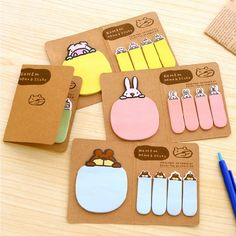 2pcs/lot Cute animals N times posted Cartoon sticky notes Folding message sticky notes  School Supplies Office Stationery   #Affiliate