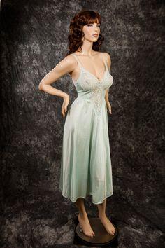 e764887201 Vintage Olga Nightgown Medium 80 s Style 91140 Soft Green Nightgown