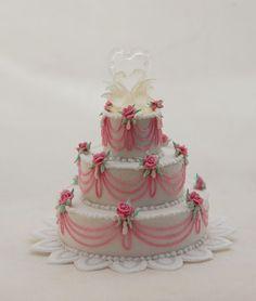 Spectacular Dollhouse Miniature Wedding Cake Rose Blown Glass Swan Heart Artisan #Artisan