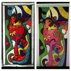 Famous Turkish artist Yilmabasar's orijinal  Hürrem sultan painting and the quilted version by me. #cat # art #quilt #paiting