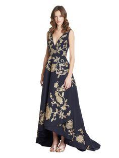 Oscar de la Renta - Metallic Embroidered Silk-Faille Gown