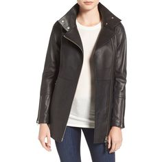 Women's Mackage Leather Moto Trench Coat (1,040 CAD) ❤ liked on Polyvore featuring outerwear, coats, black, zip trench coat, asymmetrical trench coat, trench coat, zip coat and mackage
