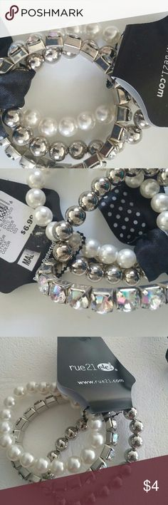 Women's fashion bracelets brand new 3 fashion bracelets , one with beads, one faux pearls, one color silver beads. Rue 21 Jewelry Bracelets