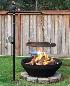 Cool DIY & Backyard Fire Pit Ideas with Comfy Seating Area Design - Coole DIY & Hinterhof Feuerstelle Ideen mit . Fire Pit Bbq, Fire Pit Ring, Diy Fire Pit, Fire Pit Backyard, Backyard Patio, Backyard Landscaping, Outdoor Pool, Backyard Seating, Diy Patio