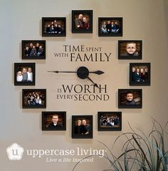 Time Spent With Family Clock Giveaway is part of diy-home-decor - I am giving away one of these beautiful Picture Frame Clocks from Uppercase Living Enter the giveaway and be sure to share with your friends Family Clock, Family Wall Decor, Living Room Decor, Family Family, Family Room, Family Picture Walls, Living Room Ideas, Living Room Quotes, Living Room Clocks