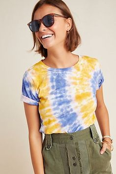 Jeri Tie-Dyed Tee by Eri + Ali in Assorted Size: Xs, Women's Tees at Anthropologie Tie Dye Outfits, Boho Outfits, Fashion Outfits, Tomboy Outfits, Tie Dye Shirts, Cut Shirts, Moda Tie Dye, Lgbt, Tie Day