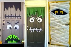 Halloween is a great time for decorating! Organize a party and have a good time without spending much to have a spooky easy decoration! Diy Deco Halloween, Casa Halloween, Halloween Door Decorations, Halloween 2015, Halloween Birthday, Holidays Halloween, Halloween Crafts, Holiday Crafts, Holiday Fun