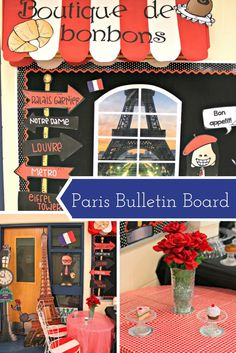 Want to help students explore the world? start by giving them a glimpse of french culture with this bulletin board idea from French Classroom Decor, Classroom Decor Themes, Classroom Design, Classroom Displays, Classroom Ideas, French Bulletin Boards, France For Kids, Teacher Door Decorations, French Cafe